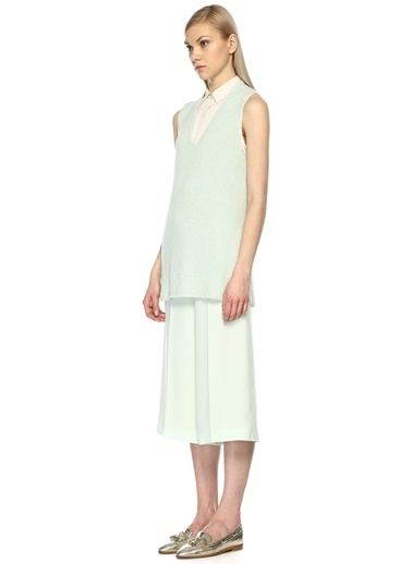 Beymen Collection Sıfır Yaka Triko Bluz Yeşil
